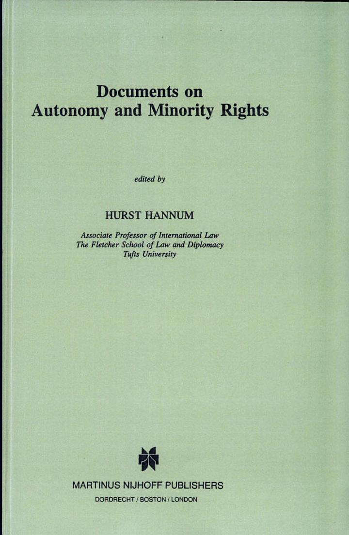Basic Documents on Autonomy and Minority Rights
