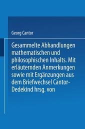 Gesammelte Abhandlungen: Mathematischen und Philosophischen Inhalts