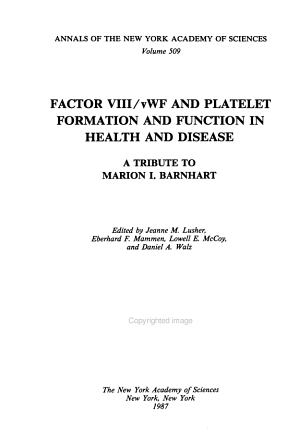 Factor VIII vWF and Platelet Formation and Function in Health and Disease PDF