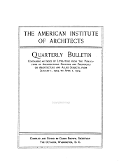 Quarterly Bulletin Containing an Index of Literature from the Publications of Architectural Societies and Periodicals on Architecture and Allied Subjects: Volume 5