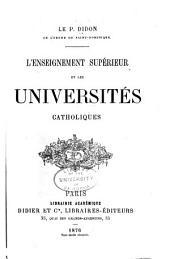L'enseignement supérieur et les universités catoliques