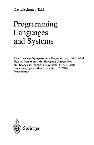 Programming Languages and Systems PDF