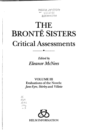 The Bront   Sisters  Evaluation of the novels Jane Eyre  Shirley and Villette PDF