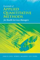 Essentials of Applied Quantitative Methods for Health Services PDF
