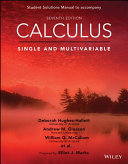 Calculus  Single and Multivariable  7e Student Solutions Manual