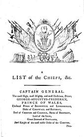 A List of the Chiefs, Officers, Court of Assistants, &c. ... in the year 1791