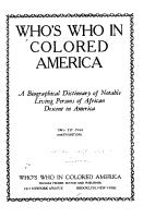 Who s who in Colored America PDF