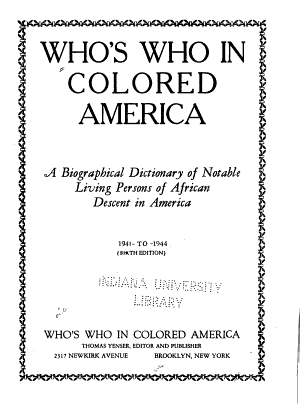 Who's who in Colored America