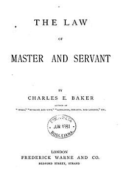 The Law of Master and Servant PDF