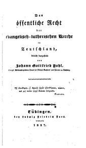 Das öffentliche Recht der Evangelisch-lutherischen Kirche in Teutschland