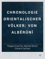 Chronologie orientalischer V  lker PDF