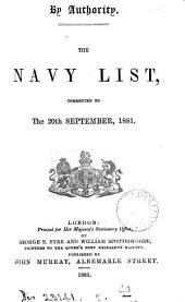 THE NAVY LIST CORRECTED TO THE 20TH SEPTEMBER, 1881