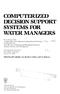 Computerized Decision Support Systems for Water Managers PDF