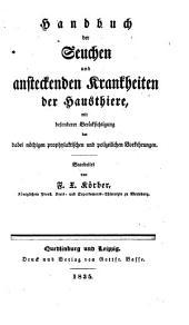 Handbuch der Seuchen und ansteckenden Krankheiten der Hausthiere (etc.)- Quedlinburg (usw.), Basse 1835