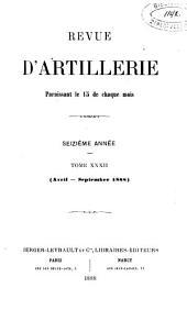 Revue d'artillerie: Volume32