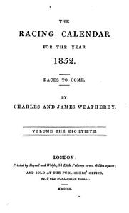 THE RACING CALENDAR FOR THE YEAR 1852 PDF