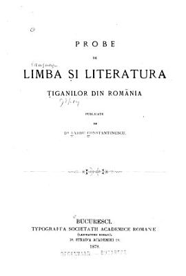 Probe de limba s  i literatura T  iganilor din Rom  nia PDF