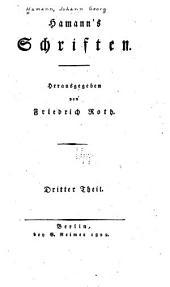 Hamann's Schriften: Band 3