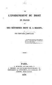 De l'enseignement du droit en France et des réformes dont il a besoin