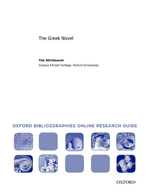 The Greek Novel  Oxford Bibliographies Online Research Guide PDF