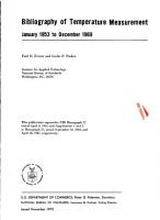 Bibliography of Temperature Measurement  January 1953 to December 1969 PDF