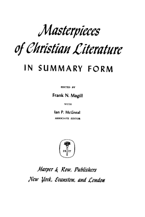 Masterpieces of Christian Literature in Summary Form PDF