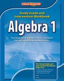 Algebra 1  Study Guide and Intervention Workbook PDF