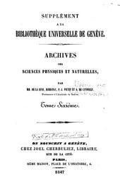 Archives des sciences physiques et naturelles: Volume6