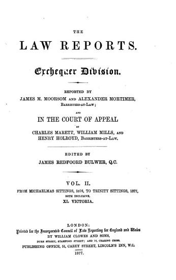 The Law Reports   Exchequer Division PDF