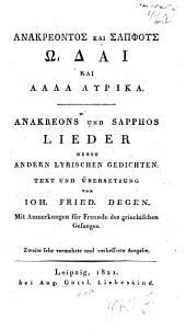 Anakreons und Sapphos Lieder, nebst andern lyrischen Gedichten