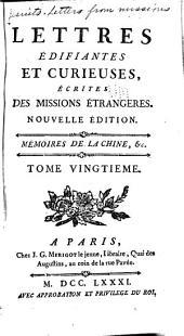 Lettres edifiantes et curieuses: ecrites des missions etrangéres, Volume20