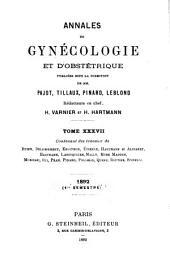 Annales de gynecologie et d'obstetrique: Volume 37