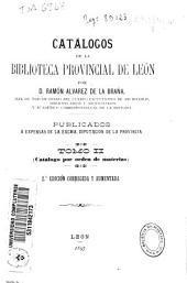 Catálogos de la Biblioteca Provincial de León: Volumen 2