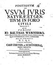 Positionum ad usum iuris naturae et gent. in foro civili disp. I - VI