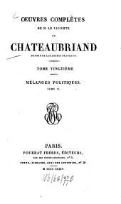 Oeuvres complètes: Mélanges politiques ; T. 2, Volume20