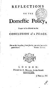 Reflections on the Domestic Policy, Proper to be Observed on the Conclusion of a Peace: Volume 3
