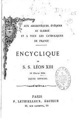 """Encyclique aux catholiques de France : """"Au milieu des sollicitudes"""" [Ralliement]"""
