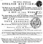 THE ROYAL STANDARD ENGLISH DICTIONARY: IN WHICH The Words are Not Only Rationally Divided Into Syllables, Accurately Accented, Their Part of Speech Properly Distinguished, and Their Various Significations Arranged in One Line; But Likewife, by A KEY TO THIS WORK, COMPRISING The Various Sounds of the Vowels and Consonants, Denoted by Typographical Characters, and Illustrated by Examples which Render it Intelligible to the Weakest Capacity, IT EXHIBITS THEIR TRUE PRONUNCIATION, ACCORDING TO THE PRESENT PRACTICE, OF MEN of LETTERS, EMINENT ORATORS, and POLITE SPEAKERS in LONDON; UPON A PLAN PERFECTLY PLAIN, and ENTIRELY NEW. TO WHICH IS PREFIXED, A COMPREHENSIVE GRAMMAR of the ENGLISH LANGUAGE