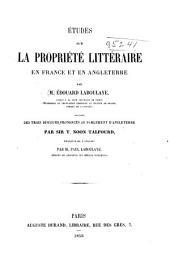 Études sur la propriété en France et en Angleterre