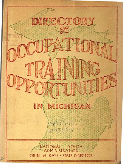 Directory of Occupational Training Opportunities in Michigan PDF