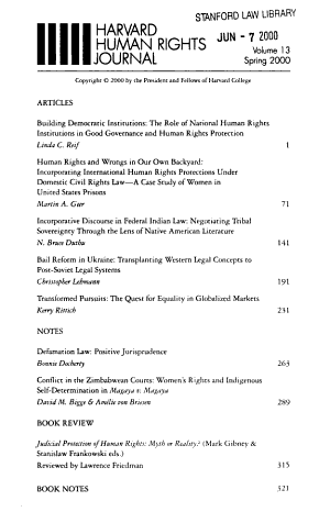 Harvard Human Rights Journal PDF