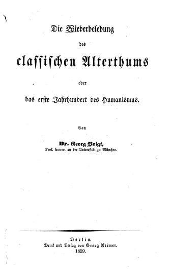 Die Wiederbelebung des classischen Alterhums PDF