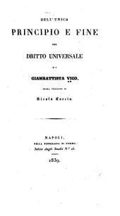 Dell'unico principio e fine del dritto universale, di Giambattista Vico: Prima versione di Nicola Corcia