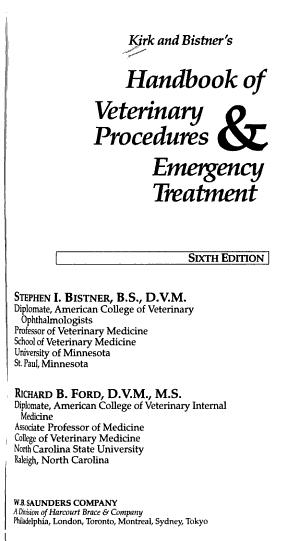 Kirk and Bistner s Handbook of Veterinary Procedures   Emergency Treatment PDF