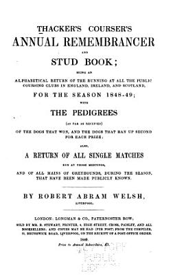 Thacker s Coursers Annual Remembrancer and Stud Book