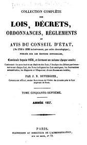 Collection complète des lois, décrets d'intérét général, traités interanationaux, arrêtés, circulaires, instructions, etc: Volumes57à58