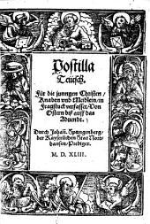 Postilla Teütsch: Für die jungen Christen, Knaben vnd Meidlein, in Fragstuck verfasset. Von Ostern biß auff das Aduendt. Sommerteil
