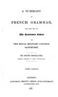 A Summary Of French Grammar For The Royal Military College Sandhurst Third Edition