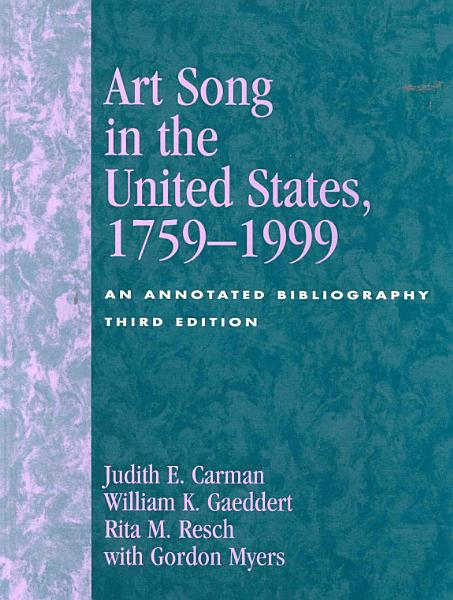 Download Art Song in the United States  1759 1999 Book