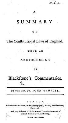 A Summary of the Constitutional Laws of England PDF